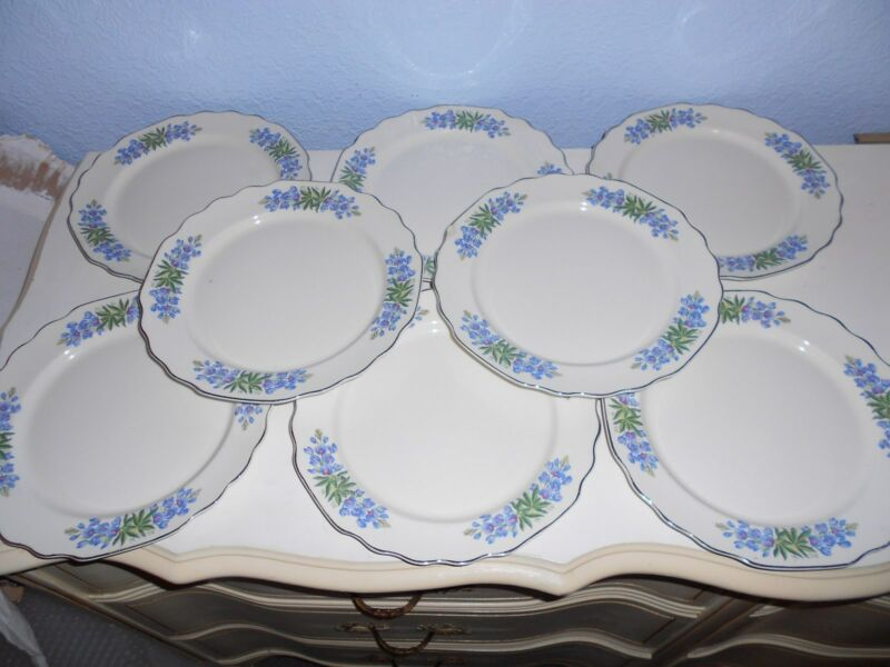 "8 WS George Blue Flora Lido Scalloped Silver Trim 9 1/4"" Dinner Plates USA #196A"