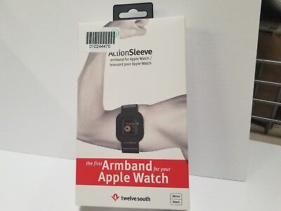 New Twelve South Adjustable Sports Action Sleeve/ Armband 38mm Apple Watch Black Black Adjustable Sports Armband