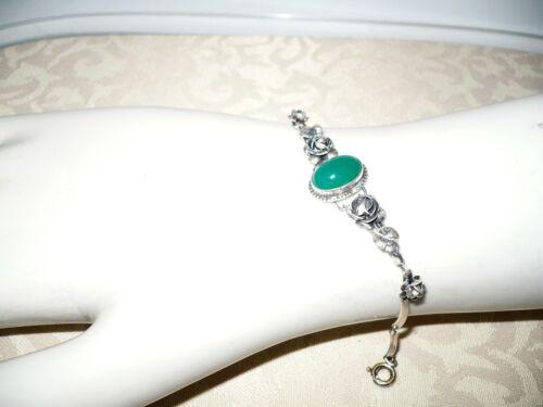 Vintage Art Deco Sterling Silver Green Chrysoprase Floral Link Bracelet Germany