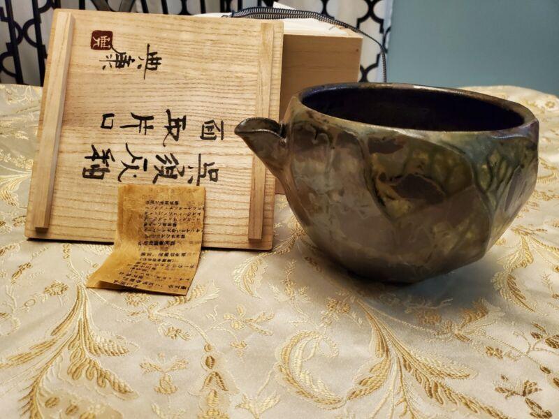 Noriyasu Tsuchiyan Japanese Large Ash Glazed Katakuchi Bowl Ceramic Pottery