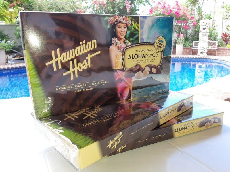 Aloha Macs Chocolate Macadamia nuts 3 BOXES = 21oz  Guaranteed Fresh Mac Nut