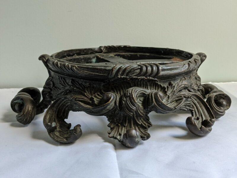 Antique Art Nouveau Heavy Cast Bronze Plateau Stand