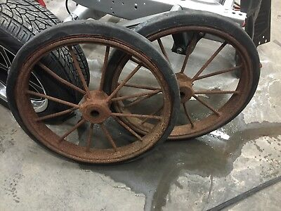 Antique Large 32 Solid Rubber Tires Steel Spoke Wheels Tractor Truck 1910 1920s