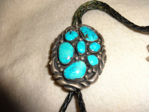 Vintage Signed Sterling Silver Turquoise HandMade Bolo Tie USA Navajo