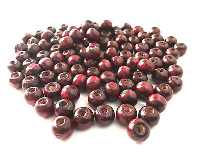 9mm 1000 Rounds (1000 pcs Dark Brown Red Wood Beads 9mm Bead Jewelry Wooden Tool round Craft)