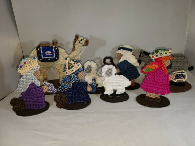 9 Vintage Completed Needlepoint Cross Stitch Nativity Figures Homemade  OOAK