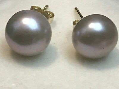 14K YELLOW GOLD AND GRAY PEARL STUD EARRINGS    2.79 GRAMS