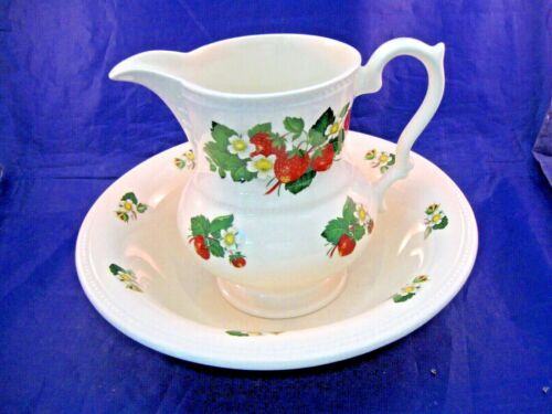 VINTAGE PITCHER AND UNDER BOWL BY LORD NELSON POTTERY - HAND CRAFTED IN ENGLAND