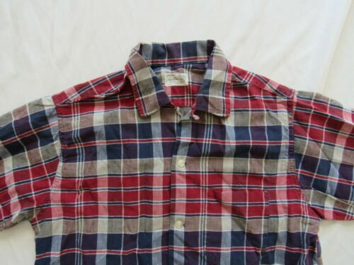 Vtg 50s 60s Galey Lord Neck Loop Plaid Oxford Shirt Sz M Cotton Mod Hollywood