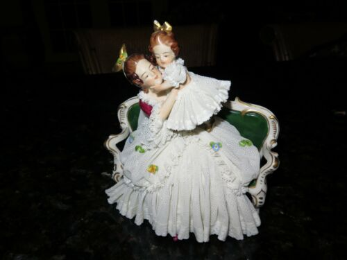 Victorian Lady on Bench with Little Girl - Rare Vintage- Dresden - Germany-