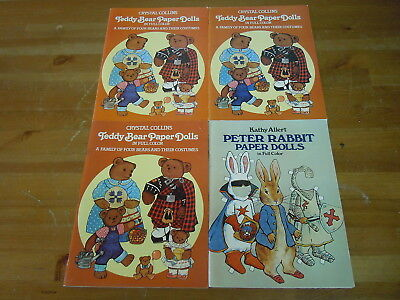 Lot of 4 Teddy Bear and Peter Rabit Paper Dolls Books by Collins & Allert