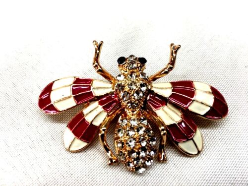 "Purple bee Brooch pin 2""x1 1/2"" jewelry gold tone Mothers Day gift idea #17"