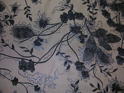 Navy Embroidered Tulle with Sequins - Luxury Fabric - Navy Tulle
