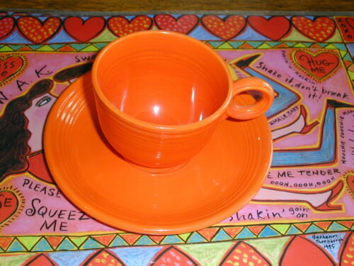 NICE! Original Vintage Fiestaware Fiesta Red Orange Cup and Saucer Set