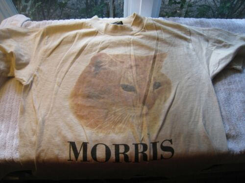 "Vtg 1970s Morris The Cat 9Lives Anvil T Shirt NOS Never Worn 25"" marked SMALL"