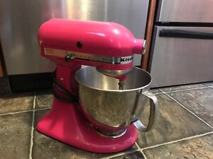 Bright pink KitchenAid stand mixer