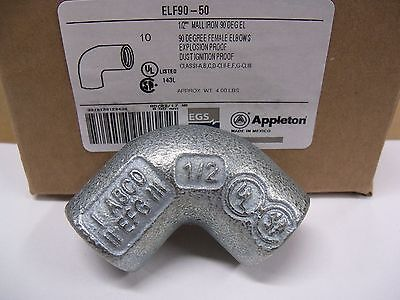 "(10) Appleton ELF90-50 1/2"" Female 90 Degree Conduit Elbows Explosion Proof NEW"