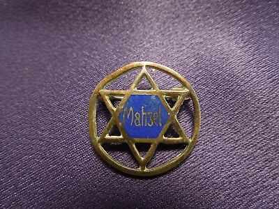 WWII Star of David Jewish Mahzel Good Luck Soldier Pin Rare Marked 284238