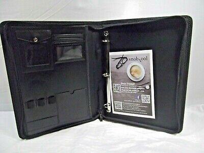 Snob Tool - Black - Faux Leather Binder - Zipper Close