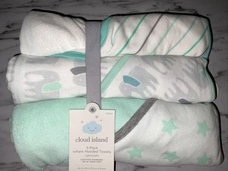 Infant Cloud Island JOYFUL MINT ELEPHANT STARS 3 PACK Hooded Towel Lightweight