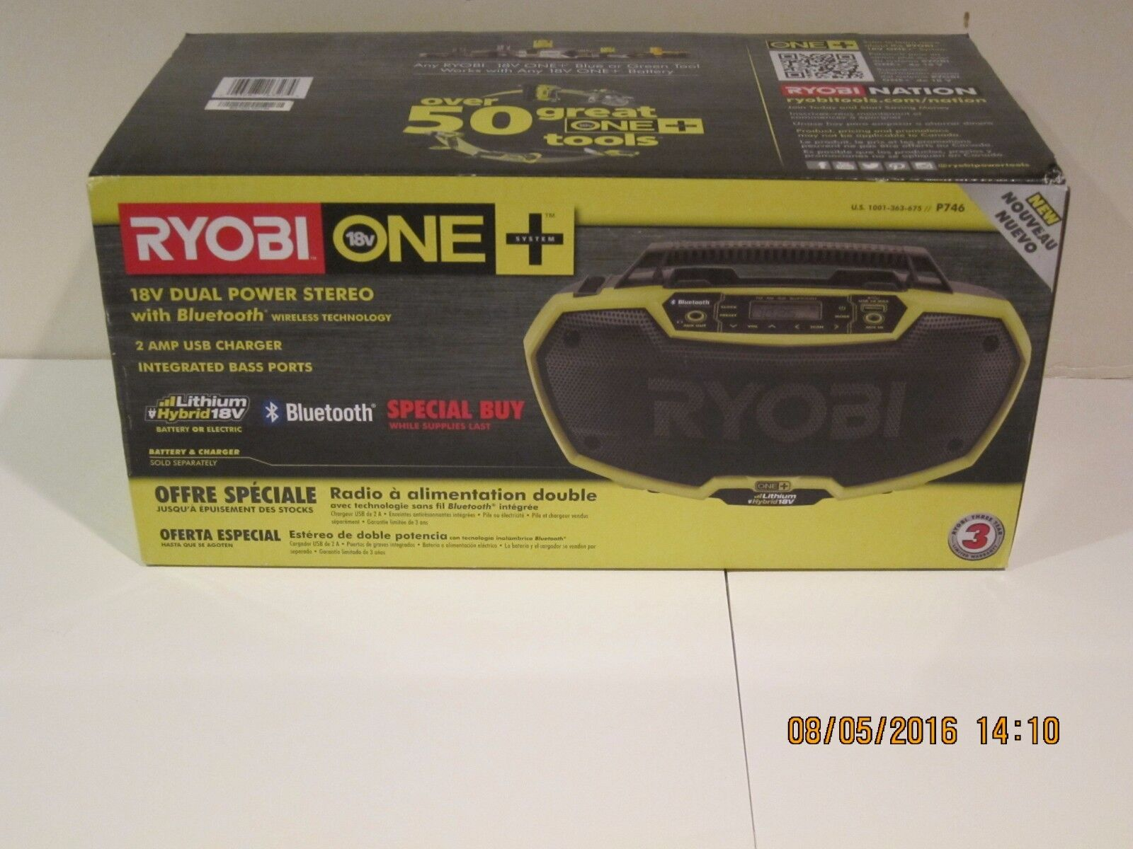 Ryobi P746 ONE 18-Volt Dual Power Stereo with Bluetooth Wire