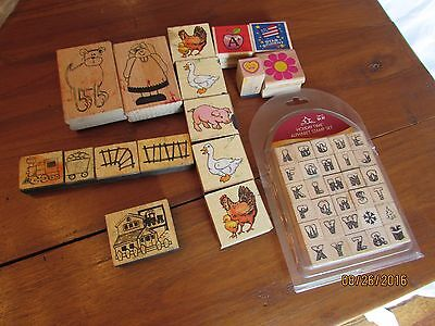 Lot of used Rubber Stamps Xmas Chimney Alphabet Letters Farm Animals Train Track (Animal Tracks Rubber Stamps)