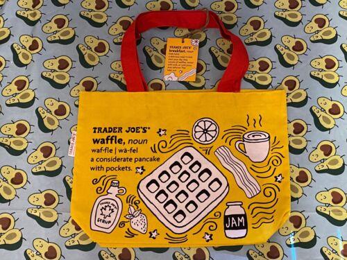 Trader Joe's Reusable BREAKFAST WAFFLE / TOAST / MILK Bag Tote Yellow Red NWT