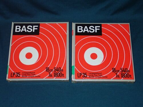 Lot of 2 NOS BASF LP 35 7 inch Reel to Reel tapes, 1800 ft.