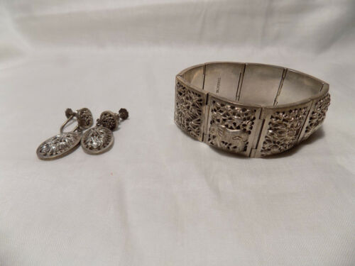 Chinese Silver 925 Bracelet and Earrings Set 8 Designs