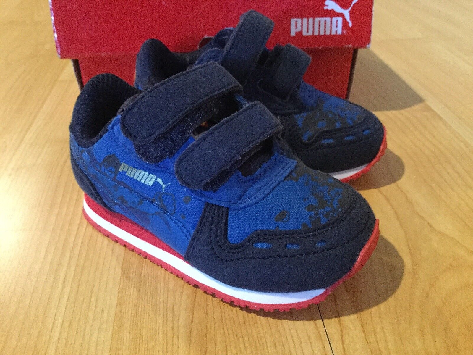 NEW! PUMA CABANA RACER SUPERMAN JR BABY/TODDLER SNEAKERS SHOES SIZE 4C BLUE/RED