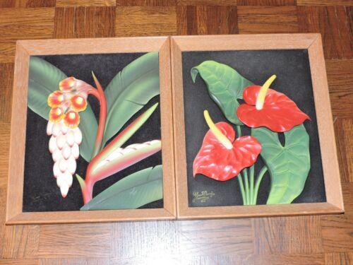 2 VTG Kino Nani 3-D Sculpture Relief Art Tropical Flowers Tiki Hawaii 1950