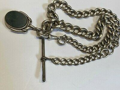 heavy antique silver albert watch chain w/fob 78.2g