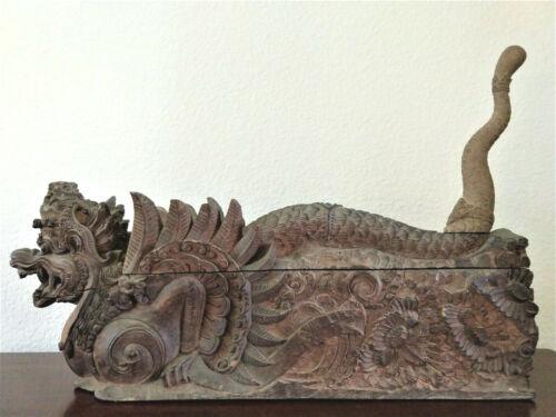 Antique carved wooden Naga ritual lontar box, Bali, Indonesia, c. 1920-40