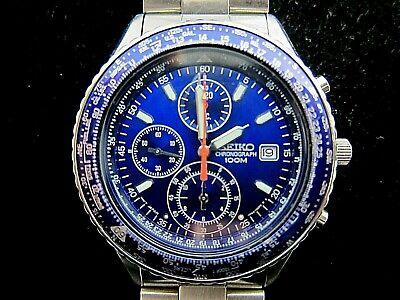 Seiko Flightmaster Watch 7T92-OCFO BlueBlack Face and Bezel