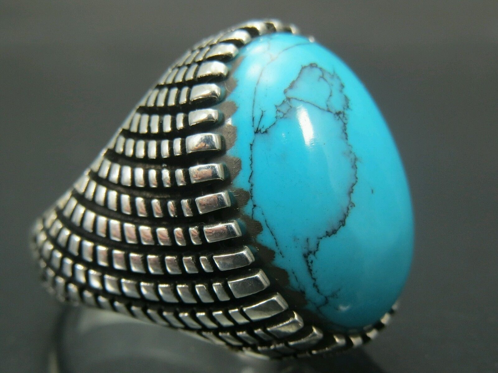 Handcrafted .925 Fine Silver Men's Oval Turquoise Rings F...