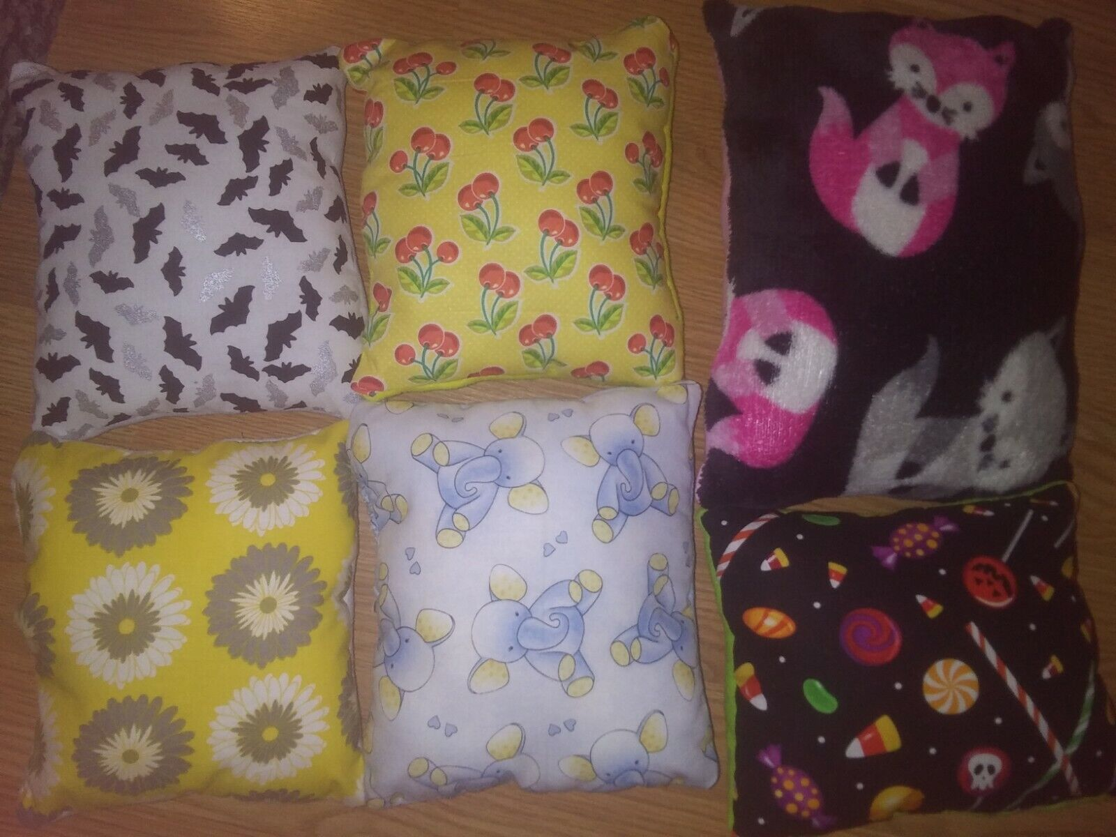 throw pillows w cotton patterns and fleece