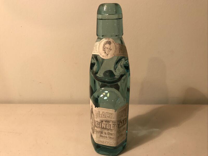 Vintage Black Hawk Ginger Ale Bottle With Marble And Label
