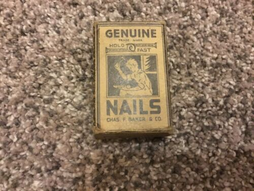 OLD VINTAGE HAMMERING NAILS IN ORIGINAL BOXES GENUINE HOLD FAST CHAS F BAKER CO.