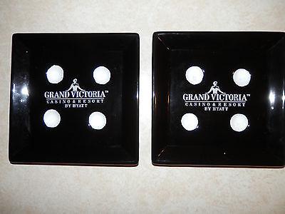 2pc CASINO ASHTRAY Black Dice Gambling Grand Victoria Casino MANCAVE tray