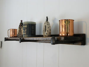 Country Rustic Wood Floating Shelf Distressed Pine W Reclaimed Railroad Spike