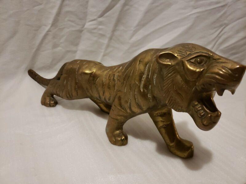 Vintage Brass Tiger Statue Figure Big Cat Prowl Statue