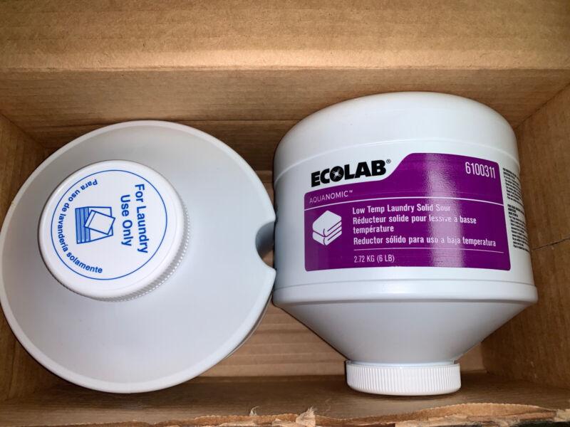 CASE 2 BLOCKS ECOLAB 6100311 Aquanomic Low Temp Laundry Solid Sour Block New