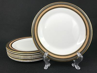 Royal Doulton Cadenza EIGHT 8 1/8 Inch Salad Plates Brown Taupe Gold