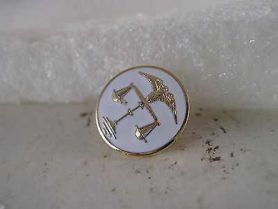 Scales of Justice   logo  lapel pin     goldtone/ white
