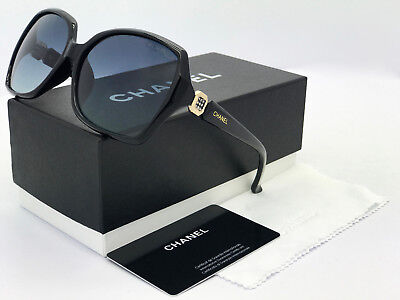 Polarized Embellished¹Chanel¹Oversized Sunglasses Black/Gray GoldLogo Iridium