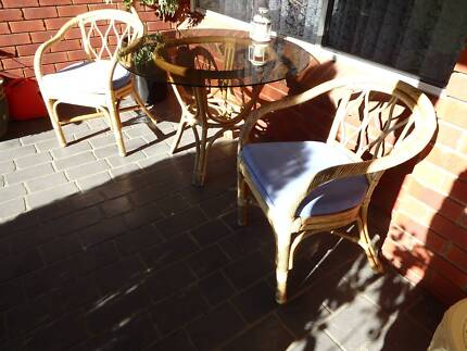 Cane glass top table and chairs Nowra Nowra-Bomaderry Preview