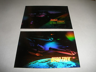 1991 IMPEL STAR TREK  HOLO HOLOGRAM CARD H1 H2 SET ENTERPRISE 2 CARD LOT