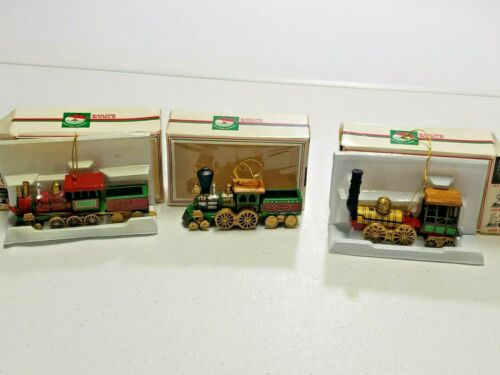 3 Kurt Adler Wood & Metal Train Engine Christmas Ornaments Santas World w/ boxes