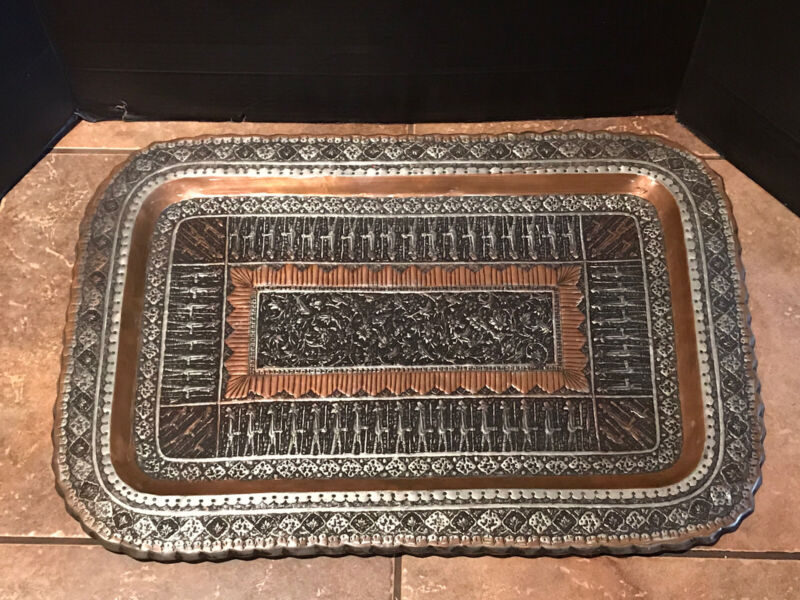 """Antique Vintage Large Persian Copper & Silver Tone Rectangular Tray 25""""x17"""""""