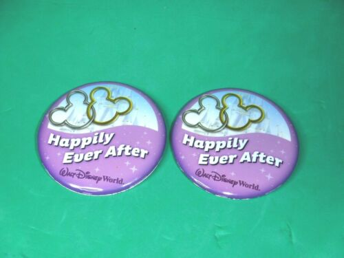 """Walt Disney World Wedding  Anniversary Buttons (2) """"Happily Ever After"""""""